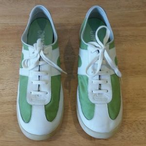 Camper green and white lace up shoes
